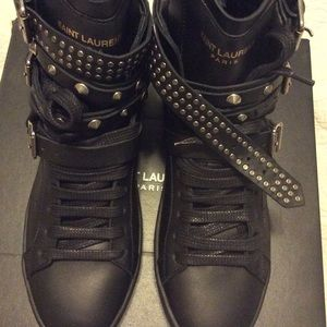 YSL Studded Court Classic Hi Top Sneakers.